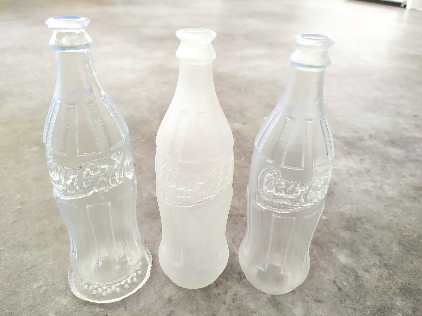 coca cola can 3d-printed in transparant resin